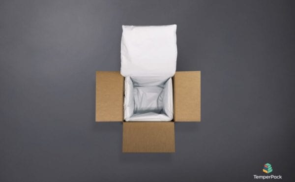 cardboard box with fluffy white packaging