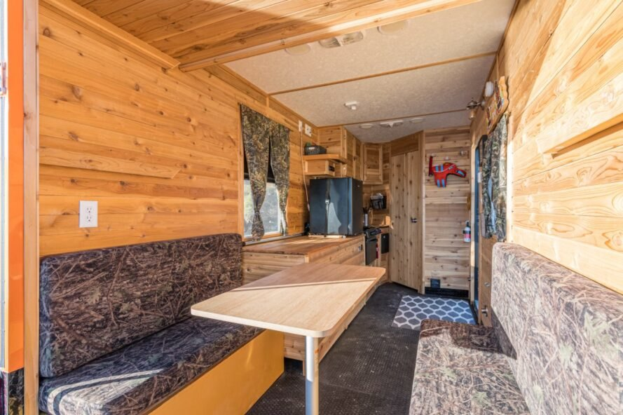 interior living space of tiny house boat