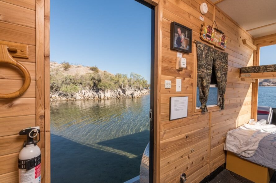 view from inside tiny house boat