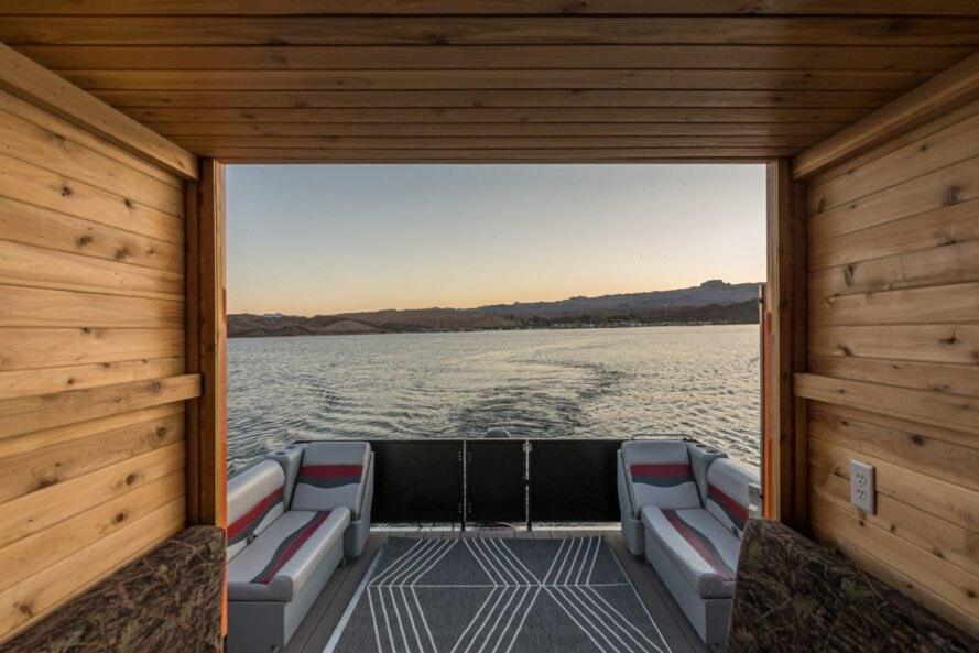 back deck of house boat