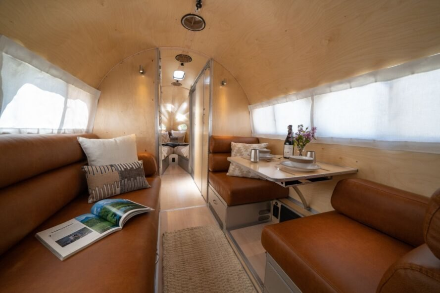 trailer interior with leather benches