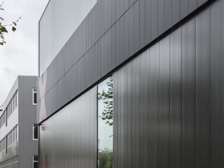 close-up of glossy black building