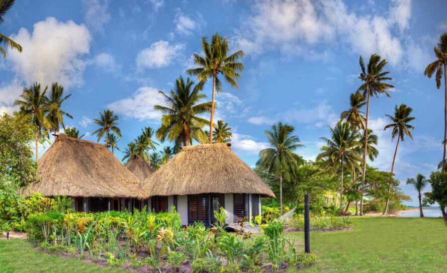 hotel huts with thatched roofs