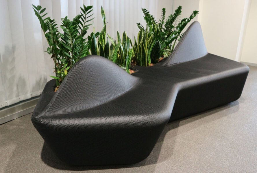 3D-printed black couch made from recycled plastic