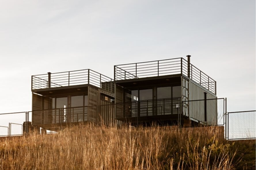 shipping container home with two volumes