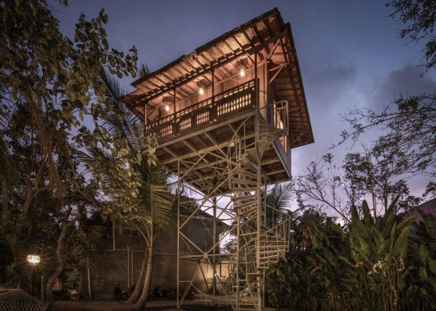 a large treehouse built on stilts