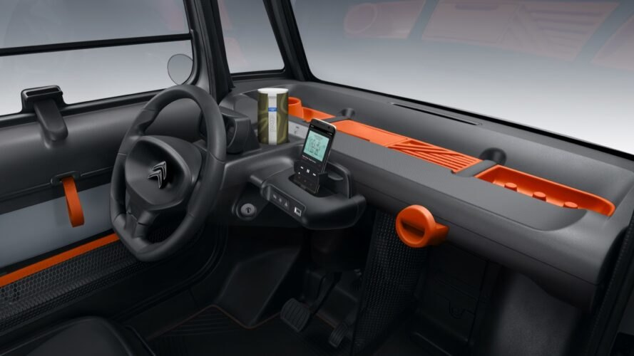 black car interior with orange details